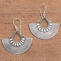 Sterling silver dangle earrings, 'Fan Dance' - Ornate Fan Shaped Balinese Silver Dangle Earrings