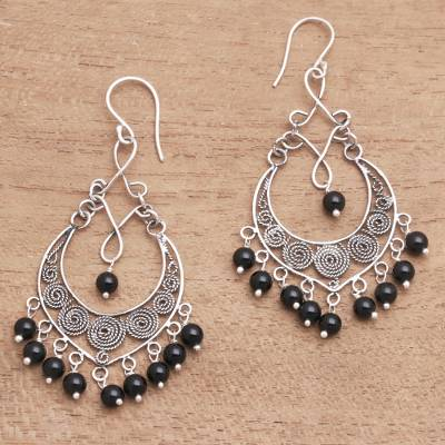 Onyx beaded waterfall earrings, 'Night Beads' - Onyx Beaded Waterfall Earrings Crafted in Bali