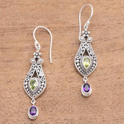 Peridot and amethyst dangle earrings, 'Diverse Combination' - Faceted Peridot and Amethyst Dangle Earrings from Bali