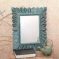 Wood wall mirror, 'Plaga Forest in Green' - Leaf Pattern Wood Wall Mirror in Green from Bali