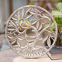 Wood relief panel, 'Snowy Tree' - Whitewashed Wood Tree Relief Panel Crafted in Bali