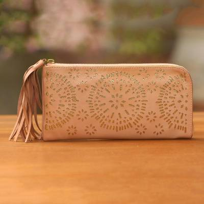 Leather clutch, 'Matahari Bliss in Blush' - Circle Pattern Leather Clutch in Blush from Bali