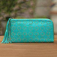 Leather clutch, 'Bintang Elegance in Turquoise' - Patterned Leather Clutch in Turquoise from Bali