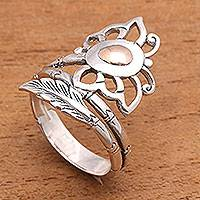 Gold accented sterling silver cocktail ring, 'Fleeting Butterfly' - Butterfly Gold Accented Sterling Silver Cocktail Ring