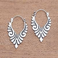 Sterling silver hoop earrings, 'Elegant Beauty' - Artisan Crafted Sterling Silver Hoop Earrings from Bali