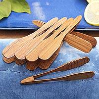 Teakwood tongs, 'Easy Service' (set of 6) - Handcrafted Teakwood Tongs from Bali (Set of 6)