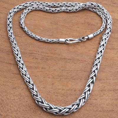 Sterling silver chain necklace, 'Bold Purity' - Foxtail chain Sterling Silver Chain Necklace from Bali