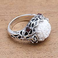 Garnet and bone cocktail ring, 'Flower and Stone' - Floral Garnet and Bone Cocktail Ring from Bali