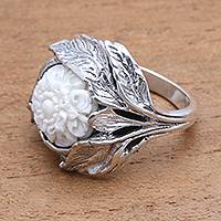 Sterling silver and bone cocktail ring, 'Leafy Flower' - Floral Sterling Silver and Bone Cocktail Ring from Java