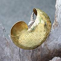 Brass cuff bracelet, 'Bedeg Gleam' - Weave Pattern Brass Cuff Bracelet from Bali
