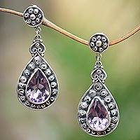 Amethyst dangle earrings, 'Royal Tears' - 10-Carat Amethyst Dangle Earrings from Java