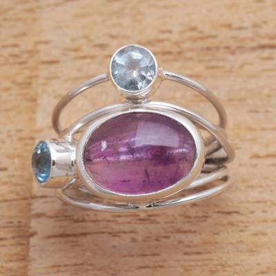 Amethyst and blue topaz cocktail ring, 'Beautiful Accompaniment' - Amethyst and Blue Topaz Cocktail Ring from Bali
