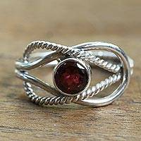 Garnet solitaire ring, 'Captured Gem' - Wire Pattern Garnet Solitaire Ring from Bali