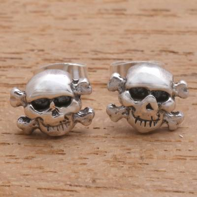 Sterling silver stud earrings, 'Skull and Crossbones' - Skull and Crossbones Sterling Silver Stud Earrings from Bali