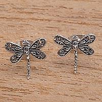 Sterling silver stud earrings, 'Dragonfly Intricacy' - Sterling Silver Dragonfly Stud Earrings from Bali