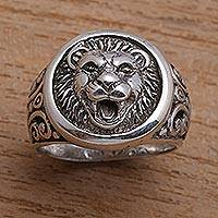 Men's sterling silver ring, 'Lion Strength' - Men's Sterling Silver Lion Ring from Bali