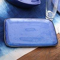 Ceramic platter, 'Blue Field' - Blue Rectangular Ceramic Platter from Bali