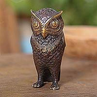 Bronze figurine, 'Gleaming Owl' - Antiqued Bronze Owl Figurine Crafted in Bali