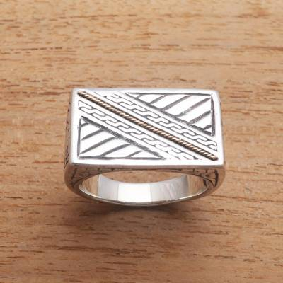 Gold accented sterling silver signet ring, 'Divine Bridge' - Patterned Gold Accented Sterling Silver Signet Ring