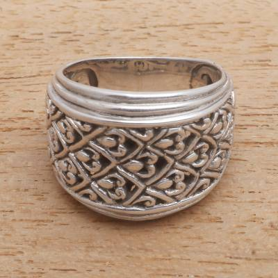 Sterling silver band ring, 'Intricate Pattern' - Patterned Sterling Silver Band Ring Crafted in Bali
