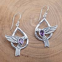 Amethyst dangle earrings, 'Bamboo Doves' - Dove-Themed Faceted Amethyst Dangle Earrings from Bali