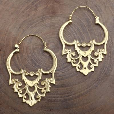 Gold plated hoop earrings, 'Elegant Cascade' - Baroque Style Balinese 18k Gold Plated Earrings