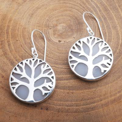 Sterling silver and resin dangle earrings, 'Misty Trees' - Sterling Silver and Resin Tree Dangle Earrings from Bali