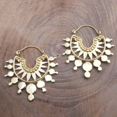 Gold plated hoop earrings, 'Golden Celebration' - Artisan Crafted 18k Gold Plated Hoop Earrings from Bali