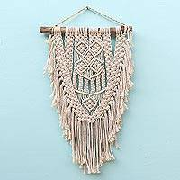 Cotton wall hanging, 'Dawn in Tegalalang' - Hand-Knotted Cotton Wall Hanging in Ivory from Bali