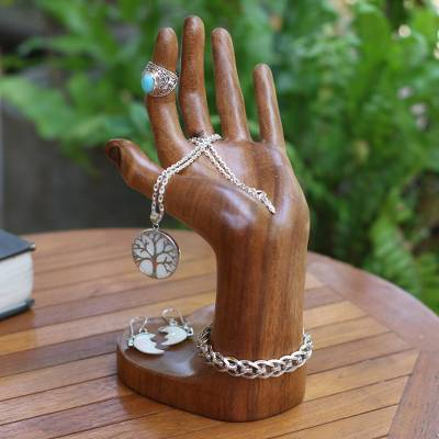 Wood jewelry stand, 'Angel's Palm' - Hand-Shaped Suar Wood Jewelry Stand from Bali