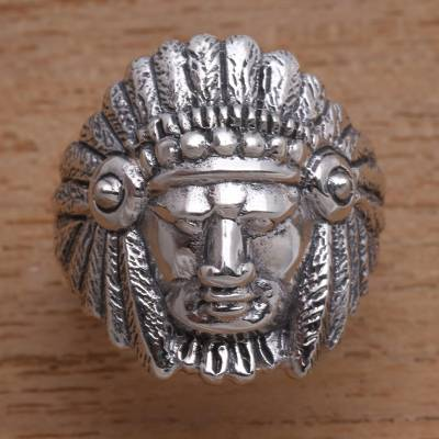 Sterling silver ring, 'Tribal Chief' - Tribal Chief Sterling Silver Ring Crafted in Bali
