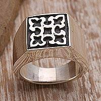 Sterling silver signet ring, 'Intricate Stamp' - Intricate Sterling Silver Signet Ring Crafted in Bali