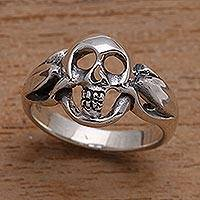 Men's sterling silver ring, 'Gentleman's Skull' - Men's Sterling Silver Skull Ring Crafted in Bali