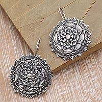 Sterling silver dangle earrings, 'Gallant Lotus' - Lotus Flower Sterling Silver Dangle Earrings from Bali