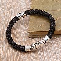 Leather and sterling silver braided bracelet, 'Marvelous Style' - Leather and Sterling Silver Braided Bracelet from Bali