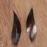 Copper drop earrings, 'Antique Leaves' - Leaf-Shaped Modern Drop Earrings in Copper from Bali