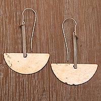 Sterling silver and copper dangle earrings, 'Half-Circle Modernity' - Modern Sterling Silver and Copper Dangle Earrings from Bali