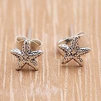 Sterling silver stud earrings, 'Cute Starfish' - Sterling Silver Starfish Stud Earrings from Bali