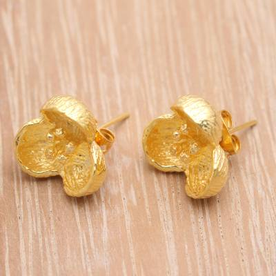 Gold plated stud earrings, 'Bell Blossom' - 18k Gold Plated Floral Stud Earrings from Bali