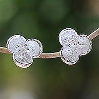 Sterling silver stud earrings, 'Bell Blossom' - Handcrafted Sterling Silver Stud Earrings from Bali