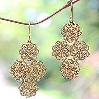Gold plated dangle earrings, 'Lacy Blossoms' - Balinese 18k Gold Plated Sterling Silver Earrings