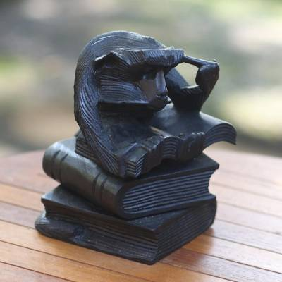 Wood sculpture, Studying Monkey