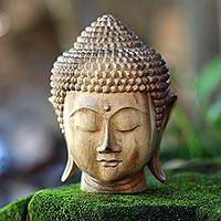 Wood sculpture, 'Buddha Nature' - Hand-Carved Suar Wood Buddha Head Sculpture from Bali