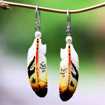 Bone and cultured pearl dangle earrings, 'Stunning Feathers' - Bone and Cultured Pearl Feather Dangle Earrings from Bali