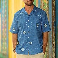 Men's linen-blend short-sleeved shirt, 'Ocean Blue' - Men's IndIgo Short Sleeved Shirt
