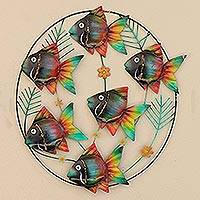 Metal wall sculpture, 'Rainbow School' - Hand Crafted Metal Wall Sculpture of Tropical Fish