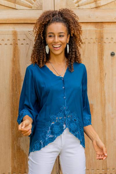 Embroidered rayon blouse, 'Azure Blossom' - Blue Rayon Embroidered Floral Blouse