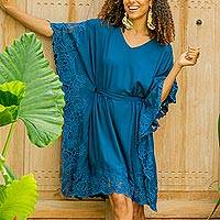 Embroidered rayon caftan, 'Goddess in Azure' - Embroidered Rayon Caftan in Azure from Bali