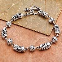 Sterling silver link bracelet, 'Beauty's Way' - Ornate Sterling Silver Link Bracelet from Bali