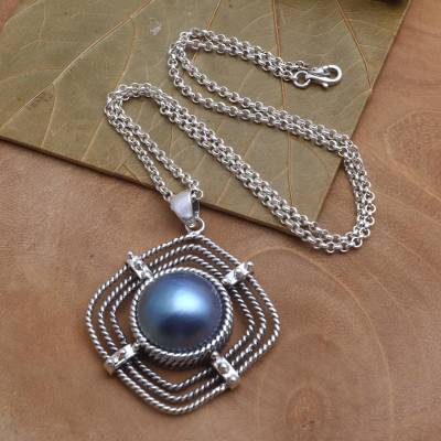 Cultured mabe pearl pendant necklace, 'In My Sights' - Cultured Blue Mabe Pearl Pendant Necklace